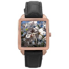 Cherry Blossoms Rose Gold Leather Watch
