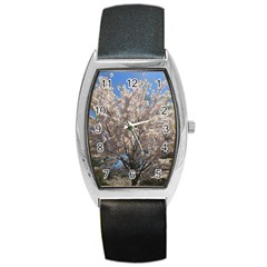 Cherry Blossoms Tree Tonneau Leather Watch