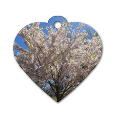 Cherry Blossoms Tree Dog Tag Heart (Two Sided)