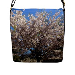 Cherry Blossoms Tree Flap Closure Messenger Bag (large)