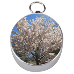 Cherry Blossoms Tree Silver Compass