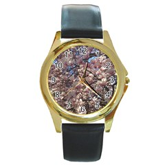 Sakura Round Leather Watch (gold Rim)