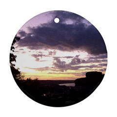 Sunset Over The Valley Round Ornament (Two Sides)