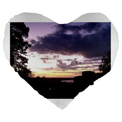 Sunset Over The Valley 19  Premium Heart Shape Cushion