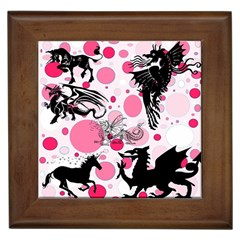 Fantasy In Pink Framed Ceramic Tile