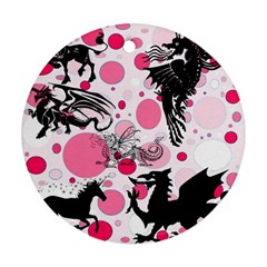 Fantasy In Pink Round Ornament (Two Sides)