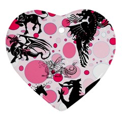 Fantasy In Pink Heart Ornament (Two Sides)