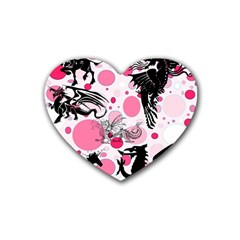 Fantasy In Pink Drink Coasters 4 Pack (heart)