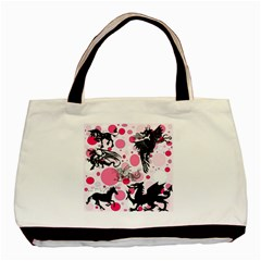 Fantasy In Pink Twin Sided Black Tote Bag