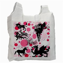 Fantasy In Pink White Reusable Bag (One Side)