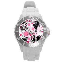 Fantasy In Pink Plastic Sport Watch (Large)