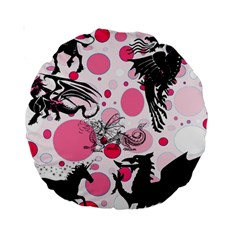 Fantasy In Pink 15  Premium Round Cushion