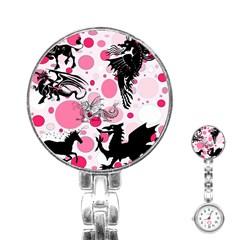 Fantasy In Pink Stainless Steel Nurses Watch