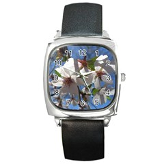 Cherry Blossoms Square Leather Watch