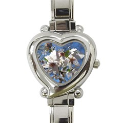 Cherry Blossoms Heart Italian Charm Watch