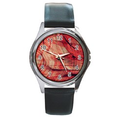 Grey And Red Round Leather Watch (Silver Rim)