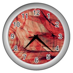 Grey And Red Wall Clock (Silver)