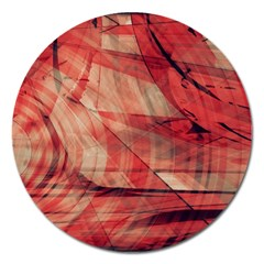 Grey And Red Magnet 5  (round)