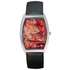 Grey And Red Tonneau Leather Watch