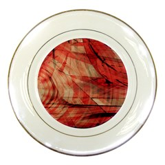Grey And Red Porcelain Display Plate