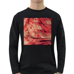 Grey And Red Men s Long Sleeve T-shirt (Dark Colored)