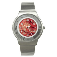 Grey And Red Stainless Steel Watch (Slim)
