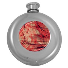 Grey And Red Hip Flask (Round)
