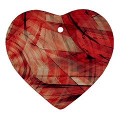 Grey And Red Heart Ornament (two Sides)