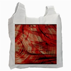 Grey And Red White Reusable Bag (one Side)