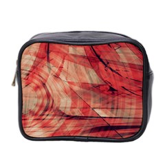 Grey And Red Mini Travel Toiletry Bag (two Sides)