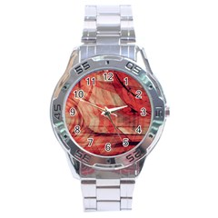 Grey And Red Stainless Steel Watch