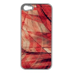 Grey And Red Apple iPhone 5 Case (Silver)