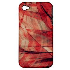Grey And Red Apple Iphone 4/4s Hardshell Case (pc+silicone)