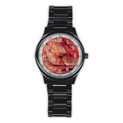 Grey And Red Sport Metal Watch (Black)