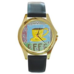 Kaffe Painting Round Leather Watch (gold Rim)
