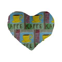 Kaffe Painting 16  Premium Heart Shape Cushion