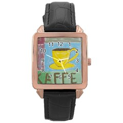 Kaffe Painting Rose Gold Leather Watch