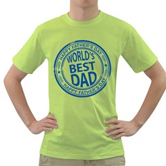 Fathers Day Rubber Stamp Effect Men s T-shirt (Green)