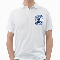 Fathers Day Rubber Stamp Effect Men s Polo Shirt (White)