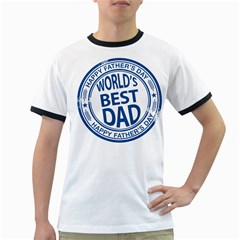 Fathers Day Rubber Stamp Effect Men s Ringer T-shirt