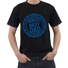 Fathers Day Rubber Stamp Effect Men s Two Sided T-shirt (Black)
