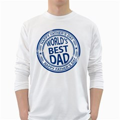 Fathers Day Rubber Stamp Effect Men s Long Sleeve T Shirt (white)