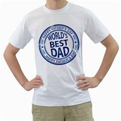 Fathers Day Rubber Stamp Effect Men s T-Shirt (White)