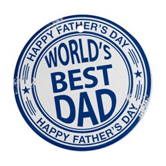 Fathers Day Rubber Stamp Effect Round Ornament