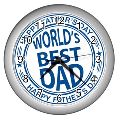 Fathers Day Rubber Stamp Effect Wall Clock (Silver)
