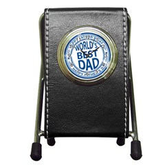 Fathers Day Rubber Stamp Effect Stationery Holder Clock