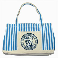 Fathers Day Rubber Stamp Effect Blue Striped Tote Bag