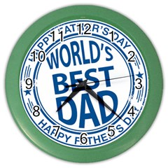 Fathers Day Rubber Stamp Effect Wall Clock (Color)