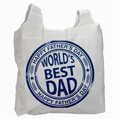 Fathers Day Rubber Stamp Effect White Reusable Bag (one Side)