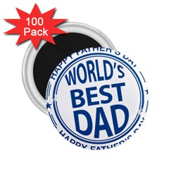 Fathers Day Rubber Stamp Effect 2 25  Button Magnet (100 Pack)